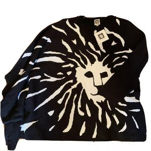 Anne Klein Black Lion Sweater Cape And Arm Small